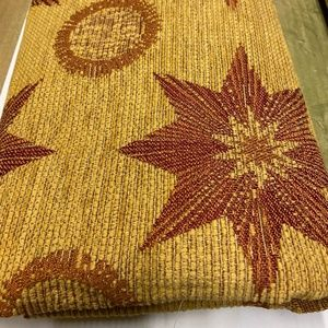Upholstery Fabric - Gold with red stars